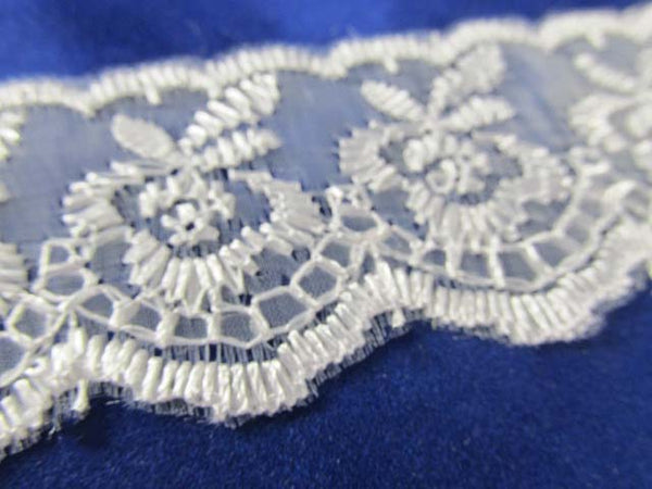 Ivory, White, Lavender, Pink, Blue, Aqua, Black, Gray, Hot Pink, Flat Polyester 1.5 inch Lace Trim-Trims-White-Odyssey Cache
