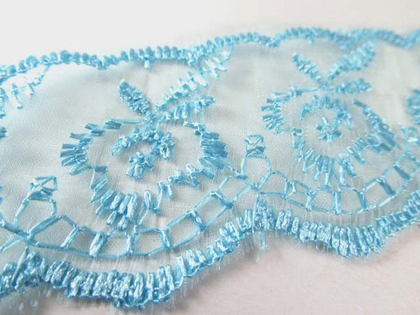 Ivory, White, Lavender, Pink, Blue, Aqua, Black, Gray, Hot Pink, Flat Polyester 1.5 inch Lace Trim-Trims-Aqua Turquoise-Odyssey Cache