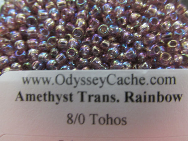 Amethyst Transparent Rainbow 8/0 Toho Glass Seed Beads (10 grams)-Jewelry Beads-Odyssey Cache