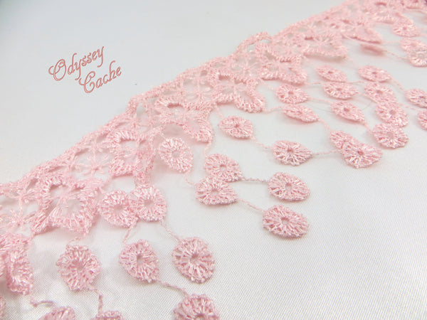 Pink 3.5 inch Fringed Venise Lace Trim - Odyssey Cache
