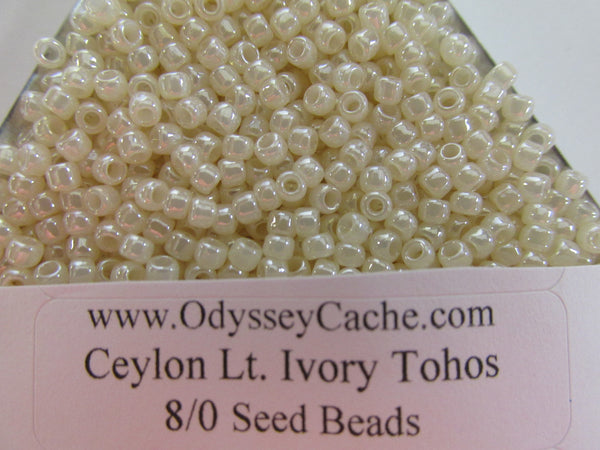 Ceylon Lt. Ivory 11/0 or 8/0 Glass Toho seed jewelry making beads (10 grams)-Jewelry Beads-8/0 (3mm)-Odyssey Cache