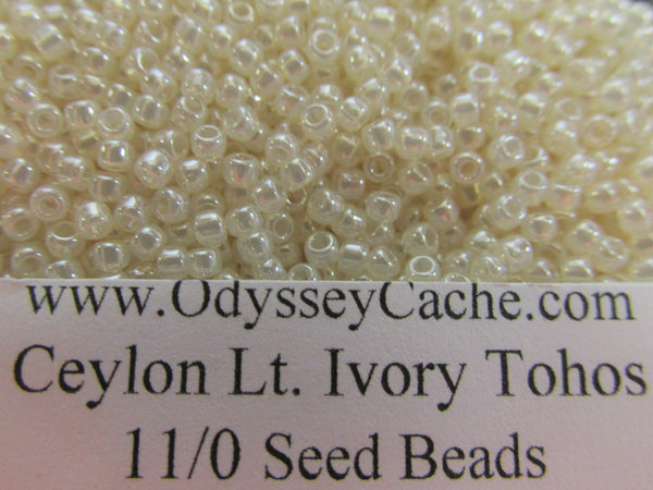 Ceylon Lt. Ivory 11/0 or 8/0 Glass Toho seed jewelry making beads (10 grams)-Jewelry Beads-11/0 (2mm)-Odyssey Cache
