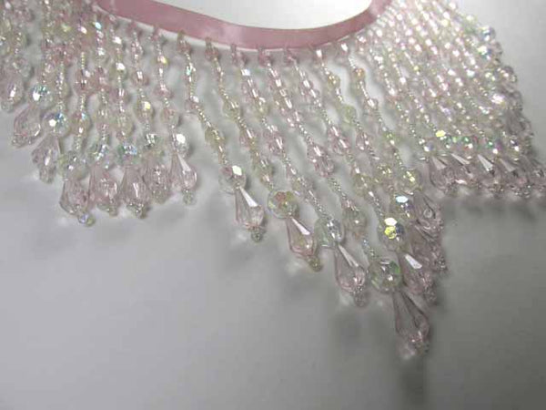 Fairylicous Pale Pink and Crystal AB 5 Inch Long Beaded Fringe-Beaded Fringe-Odyssey Cache