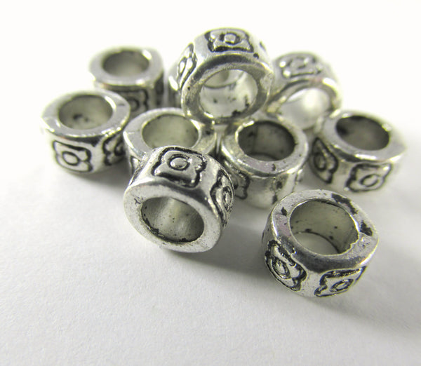 Antique Silver Pewter 6.5mm x 4mm Rondelle Spacer Large Hole Metal Beads (20)-Metal Beads and Findings-Odyssey Cache