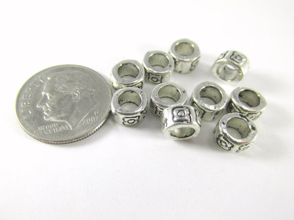 Antique Silver Pewter 6.5mm x 4mm Rondelle Spacer Large Hole Metal Beads (20) - Odyssey Cache