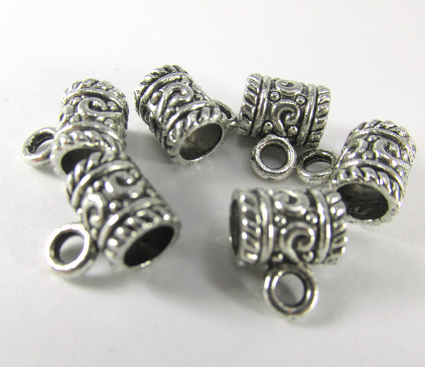 Antique Silver Pewter 9mm Charm Holder Barrels Large Hole Metal Beads (6)-Metal Beads and Findings-Odyssey Cache