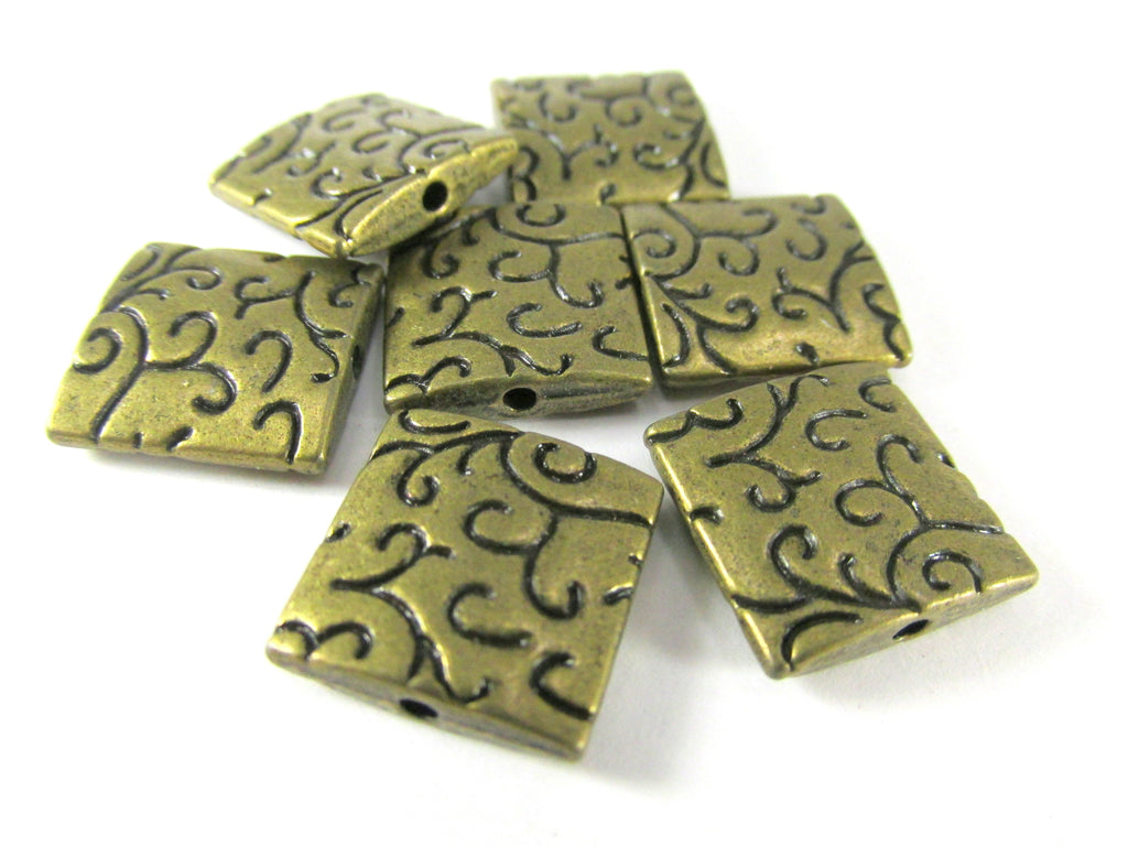 Antique Brass Flat Square 14mm Patterned Beads (5) - Odyssey Cache