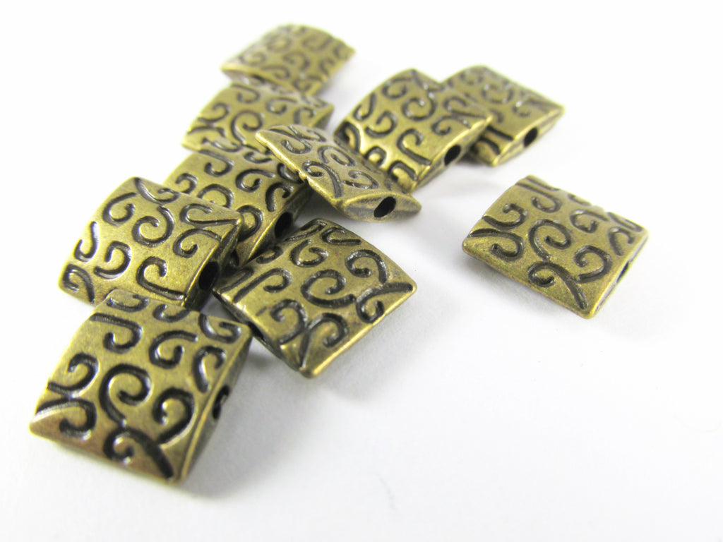 Antique Brass Flat Square 9mm Patterned Beads (6)-Jewelry Beads-Odyssey Cache