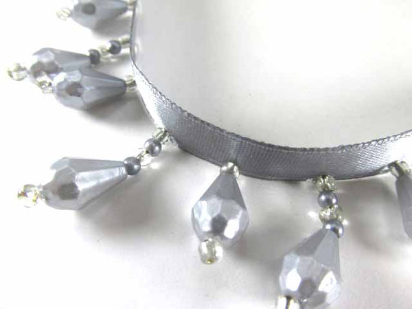Gray Pearl 1.25 Inch Alternating Length Short Beaded Fringe Trim for Wedding or Home Decor - Odyssey Cache