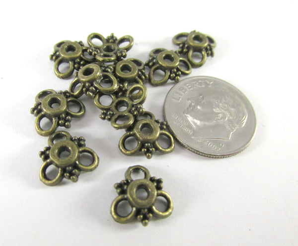 Antique Brass 10mm x 3mm 3-Loop Bead Caps (10) - Odyssey Cache