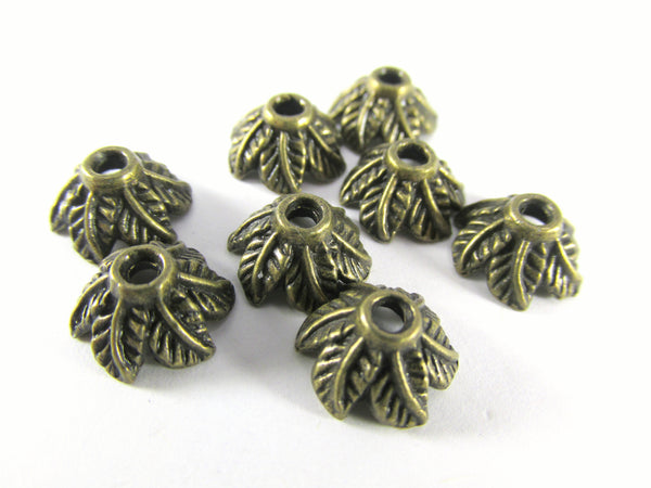 Antique Brass 10mm x 5mm Six Leaf Bead Caps (8)-Jewelry Beads-Odyssey Cache