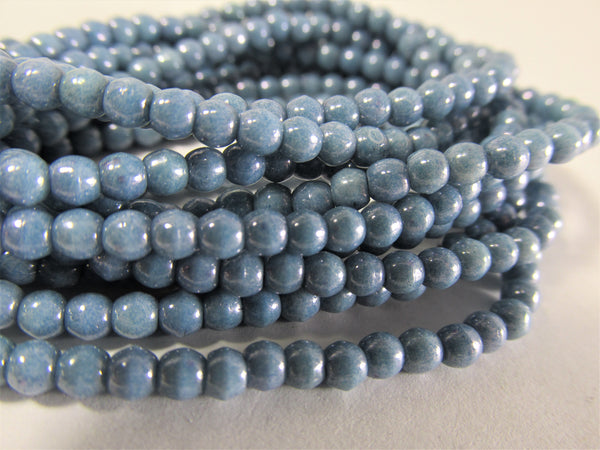 Light Slate Blue 3mm Czech Glass Round Druk Jewelry Beads (50)-Jewelry Beads-Odyssey Cache
