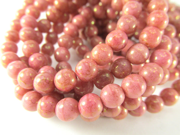 Coral Pink Peach 6mm Czech Round Druks with light 22k Gold Picasso (25) - Odyssey Cache