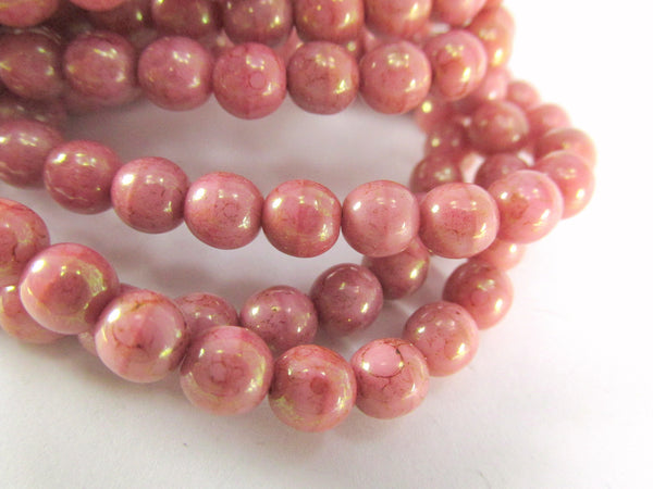 Coral Pink Peach 6mm Czech Round Druks with light 22k Gold Picasso (25)-Jewelry Beads-Odyssey Cache