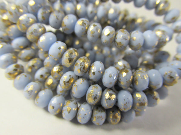 Light Blue Periwinkle with Gold 5mm x 3mm Faceted Rondelle Jewelry Beads - Odyssey Cache