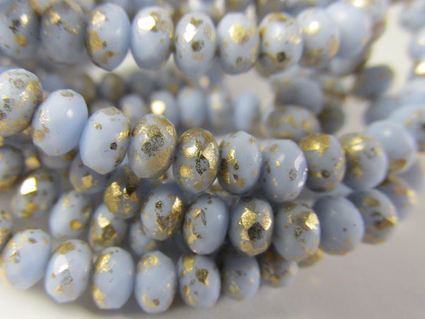 Light Blue Periwinkle with Gold 5mm x 3mm Faceted Rondelle Jewelry Beads-Jewelry Beads-Odyssey Cache