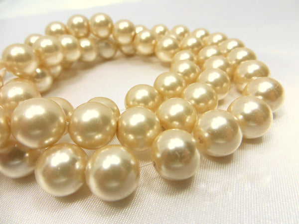 Champagne Beige 10mm Round Glass Pearls (24)--Odyssey Cache