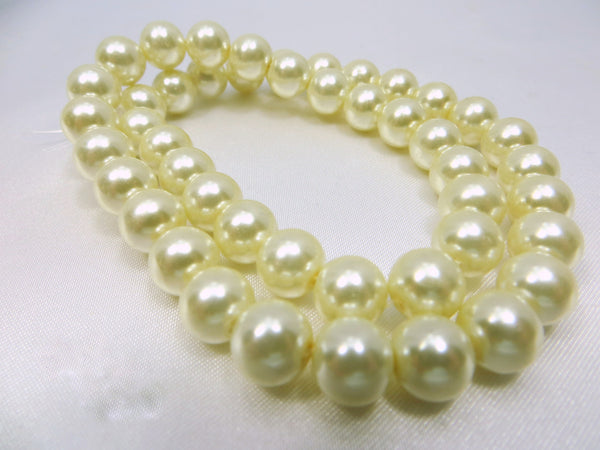 Ivory 8mm Round Glass Pearls (46)-Jewelry Beads-Odyssey Cache