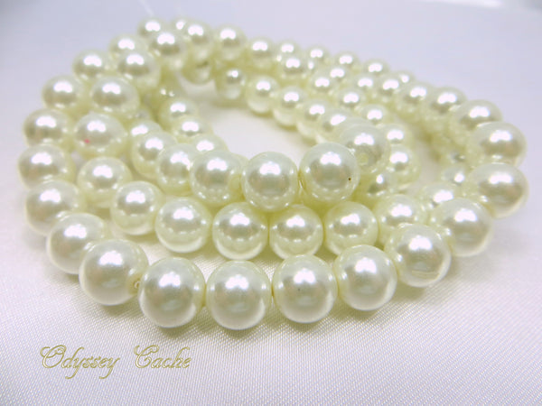 Oyster White 8mm Round Glass Pearls (46) - Odyssey Cache