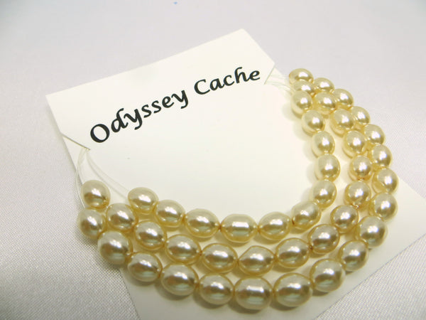 Ivory Oval Rice 5mm x 6mm Glass Pearls (45) - Odyssey Cache