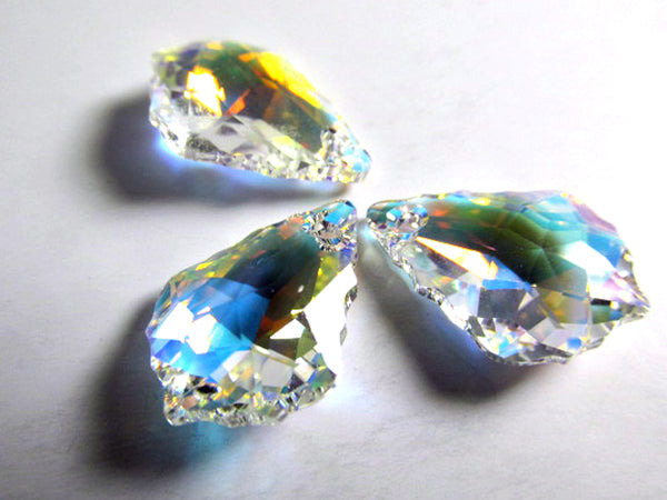 Swarovski Crystal AB 16mm x 11mm 6090 Baroque Faceted Drop Jewelry Beads (2) - Odyssey Cache