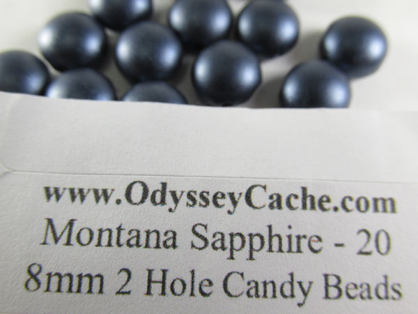Montana Sapphire Navy Blue 2 Hole 8mm Cabochon Candy Beads (20)-Jewelry Beads-Odyssey Cache