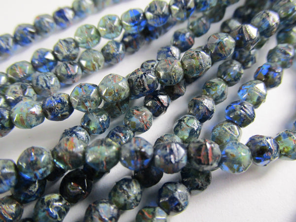 Cobalt Cyan Blue Picasso Finish Czech 4mm English Cut Faceted Beads (50)-Jewelry Beads-Odyssey Cache