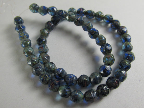 Cobalt Cyan Blue Picasso Finish Czech 4mm English Cut Faceted Beads (50) - Odyssey Cache