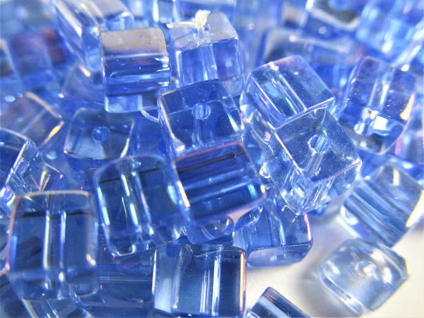 Crystal 4mm Cube Jewelry Beads in Periwinkle Blue Tanzanite AB (40 beads) - Odyssey Cache