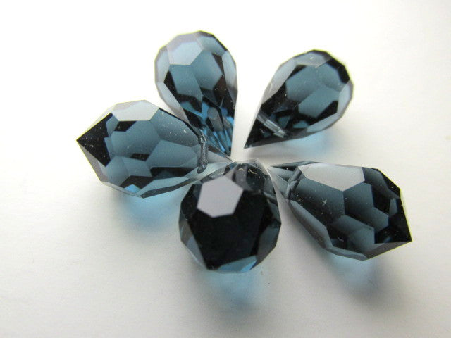 Montana Sapphire Preciosa Czech Crystal 15mm x 9mm Faceted Teardrops (2)-Jewelry Beads-Odyssey Cache