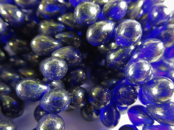 Blue Sapphire with Gold Czech Glass 5 x 7mm Teardrop Jewelry Beads-Jewelry Beads-Odyssey Cache