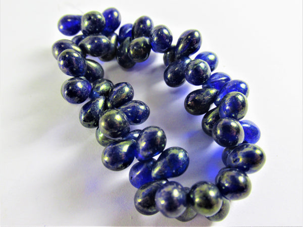 Blue Sapphire with Gold Czech Glass 5 x 7mm Teardrop Jewelry Beads - Odyssey Cache