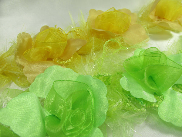 Lime Green Ruffled Rose Craft or Bridal Flower Trim-Trims-Odyssey Cache