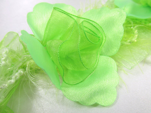 Lime Green Ruffled Rose Craft or Bridal Flower Trim-Trims-1 flower-Odyssey Cache