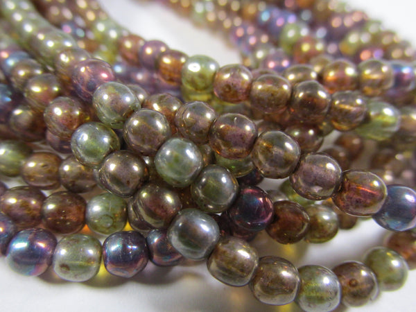 Opal Mix Purple, Blue, Green and Brown Czech Glass 4mm Round Druk Jewelry Beads - Odyssey Cache