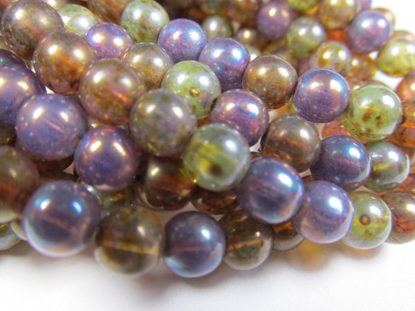 Opal Mix Purple, Blue, Green and Brown Czech Glass 6mm Round Druk Jewelry Beads - Odyssey Cache