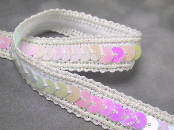 Sparkle Edge 1/2 Inch Sequined Trim in Pink, White AB, Black, Turquoise, Purple, Red, Green, Fuchsia-Trims-White AB-Odyssey Cache