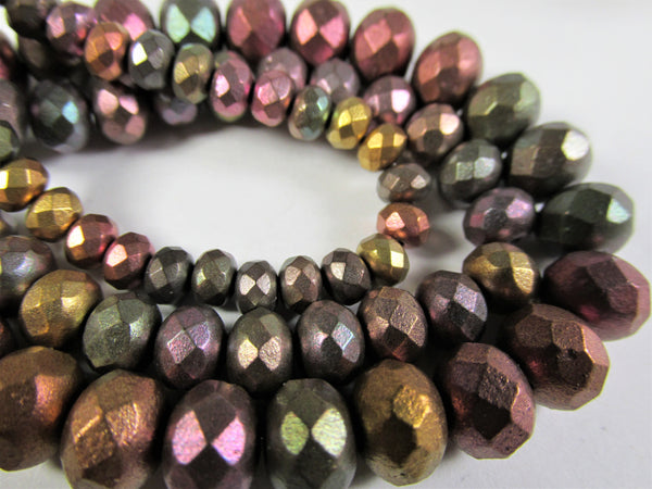 Metallic Mix Czech Glass 5mm x 3mm Faceted Rondelle Jewelry Beads (30 beads)-Jewelry Beads-Odyssey Cache