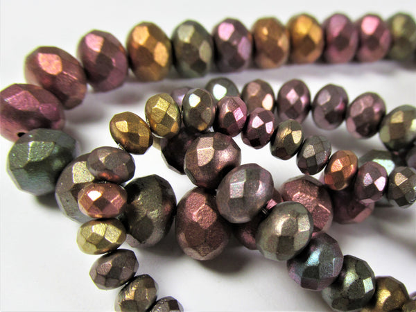 Metallic Mix Czech Glass 8mm x 6mm Faceted Rondelle Jewelry Beads (25 beads)-Jewelry Beads-Odyssey Cache