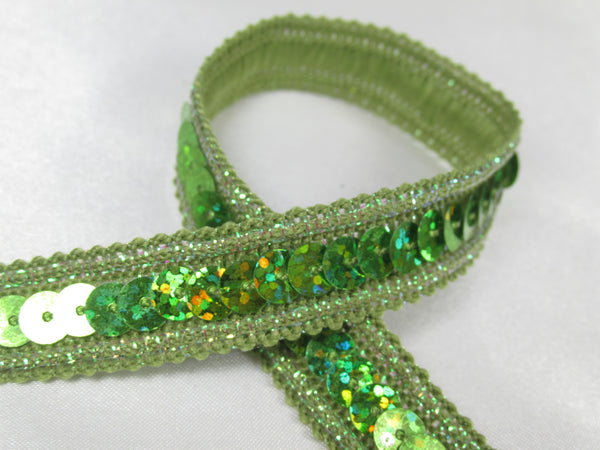 Holographic 1/2 Inch Sequined Trim with AB Thread Edge in 12 colors-Trims-Lime Green-Odyssey Cache