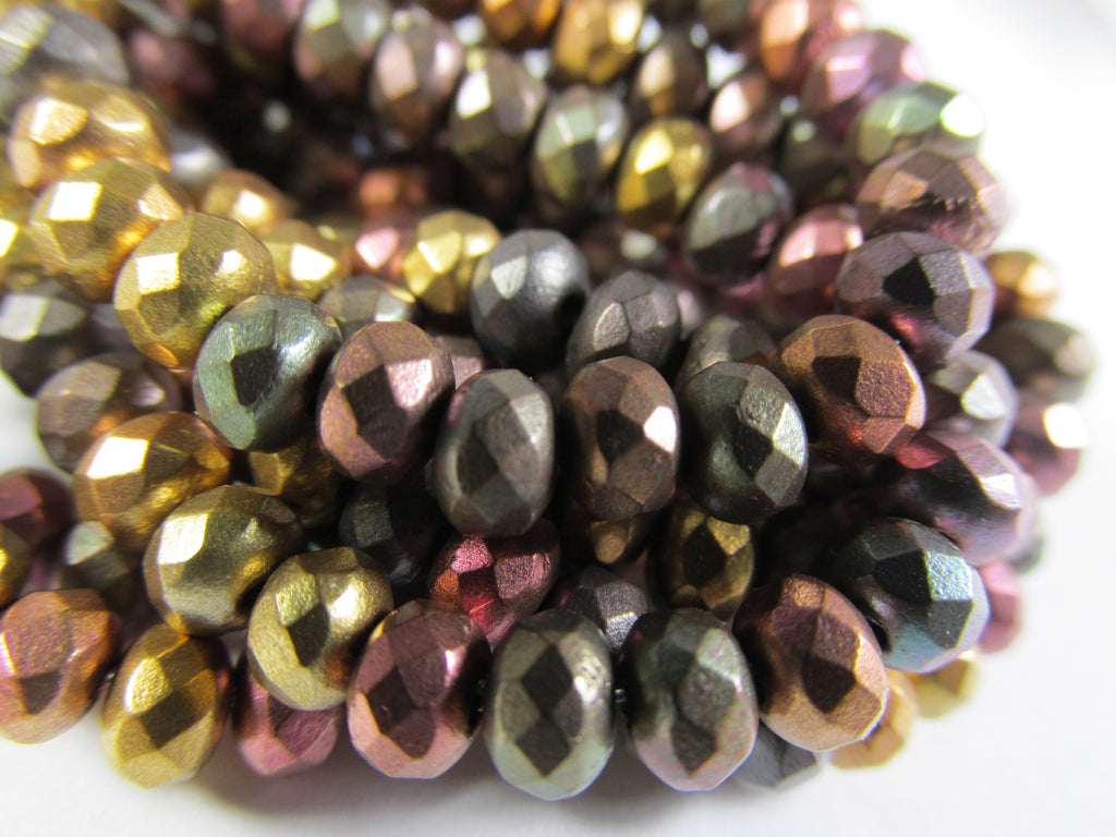 Metallic Mix Czech Glass 8mm x 6mm Faceted Rondelle Jewelry Beads (25 beads) - Odyssey Cache