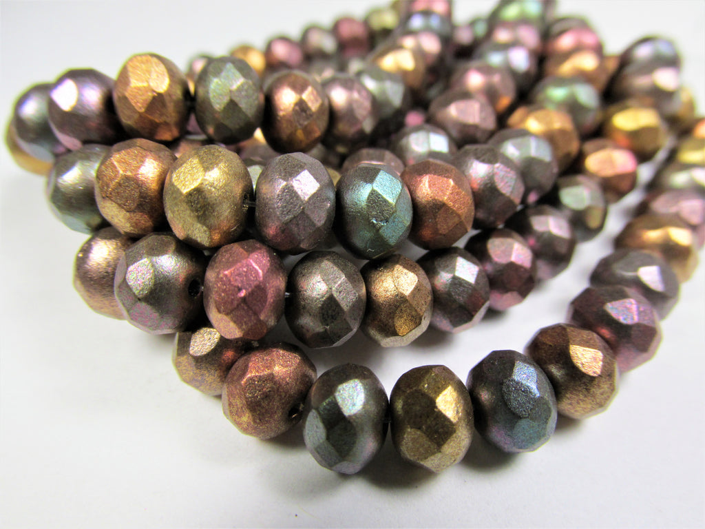 Metallic Mix Czech Glass 7mm x 5mm Faceted Rondelle Jewelry Beads (25 beads)-Jewelry Beads-Odyssey Cache