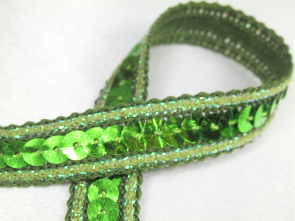 Sparkle Edge 1/2 Inch Sequined Trim in 7 colors-Trims-Lime Green-Odyssey Cache