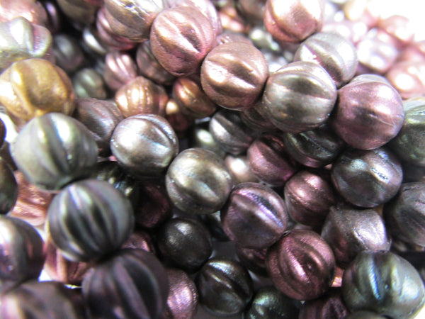 Darker Metallic Mix Czech Glass 6mm Fluted Round Melon Jewelry Beads (25)-Jewelry Beads-Odyssey Cache