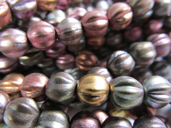 Darker Metallic Mix Czech Glass 6mm Fluted Round Melon Jewelry Beads  (25) - Odyssey Cache