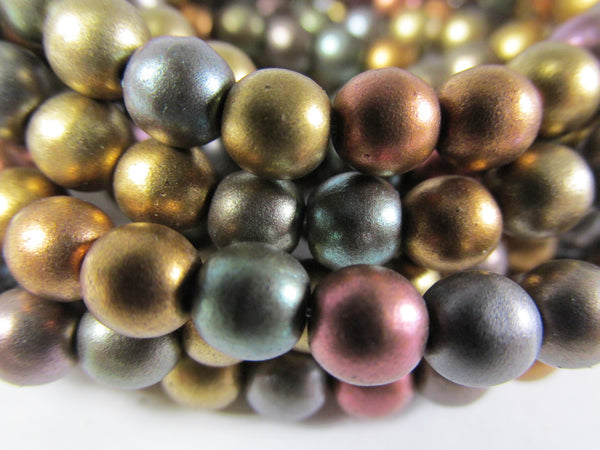 Metallic Mix Czech Glass 6mm Round Druk Jewelry Beads  (25) - Odyssey Cache