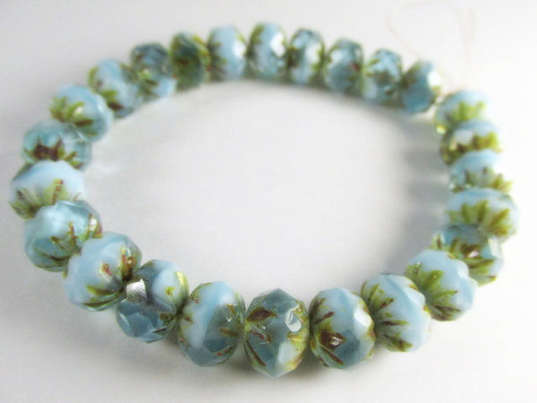Aqua baby Blue and Gold Picasso Czech 9mm x 6mm Carved Crullers-Jewelry Beads-25 beads (full strand)-Odyssey Cache
