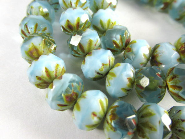 Aqua baby Blue and Gold Picasso Czech 9mm x 6mm Carved Crullers-Jewelry Beads-Odyssey Cache