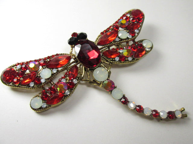 Red and White Opal Extra Large Dragonfly Brooch on Antique Gold-Brooch-Odyssey Cache