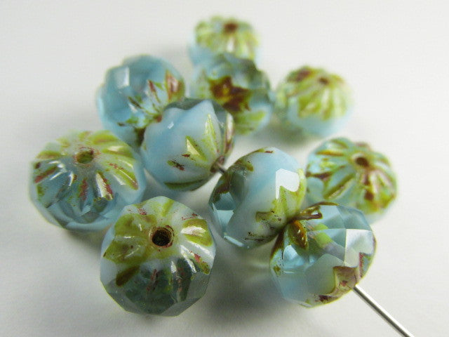 Aqua baby Blue and Gold Picasso Czech 9mm x 6mm Carved Crullers-Jewelry Beads-10 beads-Odyssey Cache